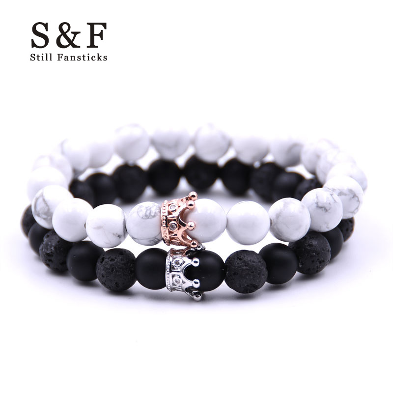 Couple Bracelet Charms Stone Beads Men Jewelry Crown Bracelets For Women Bangles Pulseira Masculina Bileklik Pulseira Feminina