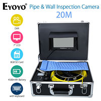 EYOYO 7 LCD Screen 20M Pipe Wall Inspection Camera Sewer Drain Inspection Endoscope W Keyboard 1000TVL