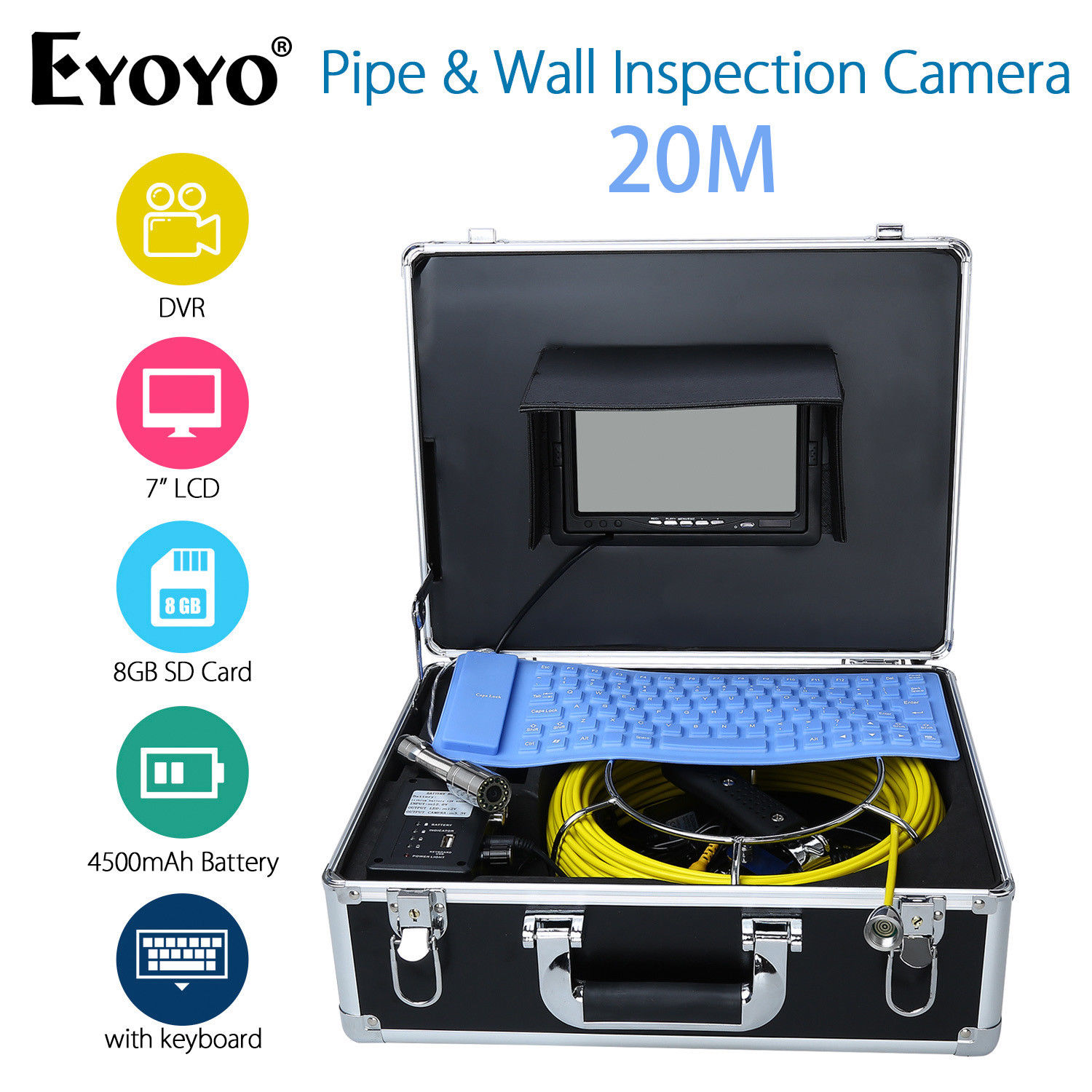 EYOYO 7 LCD Screen 20M Pipe&Wall Inspection Camera Sewer Drain Inspection Endoscope w/Keyboard 1000TVL DVR Recording 8GB eyoyo 7 lcd screen 20m 800 480 1000tvl 4500mah sewer drain camera pipe wall inspection endoscope w keyboard dvr recording 8gb