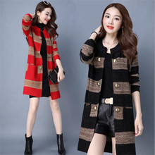 2016 Women's Fashion Autumn Winters Thickening Big Yards Wool Knitted Cardigan Sweater Cultivate One's Morality Spell Color Coat