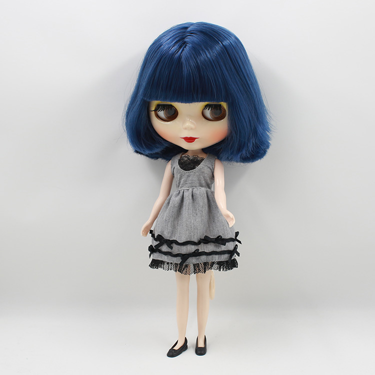 Beaukiss Nude Blyth doll DIY dark blue bangs short hair 12inch fashion model dolls gifts for girls dark blue doll collar pleated dress