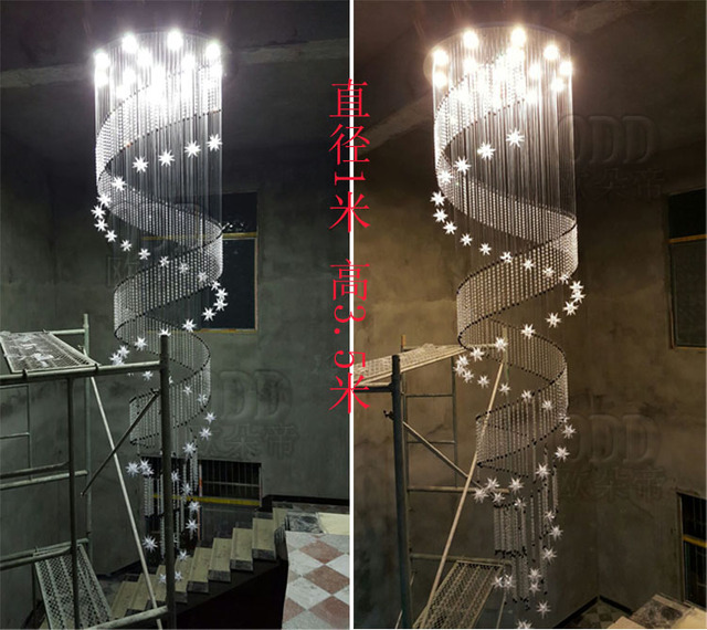 Lange Spirale Chandelierrotating Einfache Deckenbeleuchtung Lampe Treppe Licht Wohnzimmer Moderne Kristall ZCL