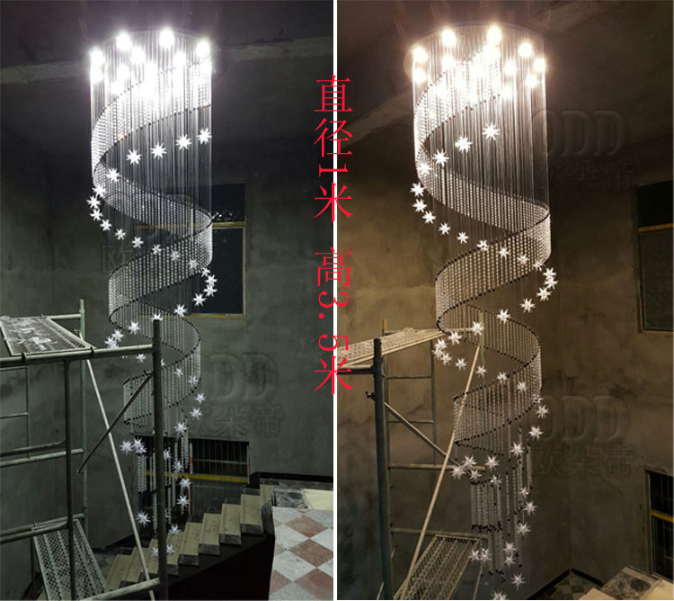 spiral long chandelierrotating Simple ceiling lighting lamp staircase light double living room lamp modern crystal lamp ZCL chinese style simple led long block crystal villa staircase pendant lamp revolving double staircase living room lighting pendant