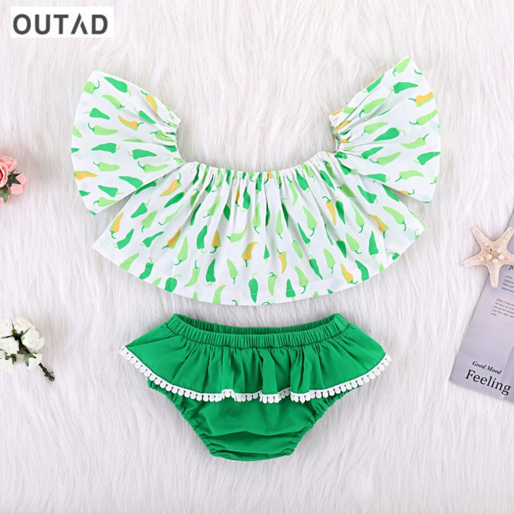 OUTAD Summer Newborn Baby Girl Clothes Chili Printed Tank Top + Green Briefs Shorts 2PCS Outfits Toddler Infant Clothing Set Hot