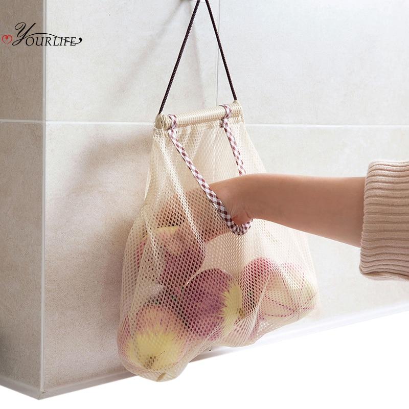 OYOURLIFE Reusable Onion Potato Tomato Storage Hanging Basket Fruit Garlic Ginger Garbage Bag Organizers Kitchen Mesh Bag