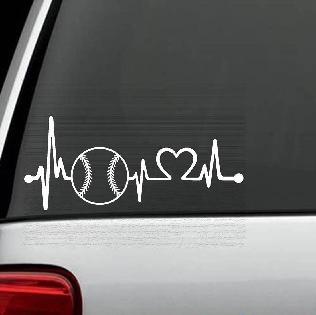 For Baseball Softball Heartbeat Lifeline Decal Sticker ...
