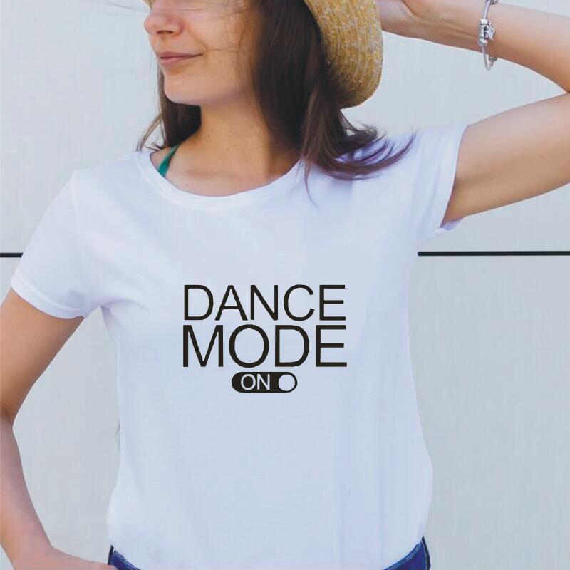T-shirt Mode danse avec lettres imprimées pour femmes, en coton, Harajuku, grande taille, blanc et noir, Hipster, à la Mode, 2019