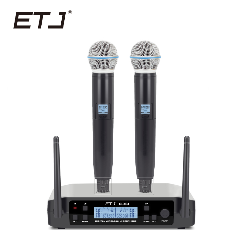 Free shipping!ETJ Brand UHF Dual Wireless Microphone System BETA58 GLXD4 MIC for Stage More Channel Than SLX24 And PGX24 high end uhf 8x50 channel goose neck desk wireless conference microphones system for meeting room