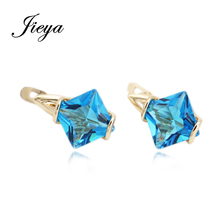 Classic Female Square Cubic Zirconia 585 Gold Drop Earrings Fashion Wedding Jewelry 2017 Women Vintage Blue Earrings With Stone