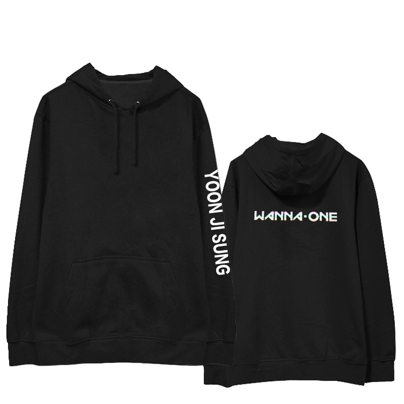 2018new autumn winter coat men women Cotton Hedging Hoodies wanna one KPOP Korean version laser Letter printing black Sweatshirt