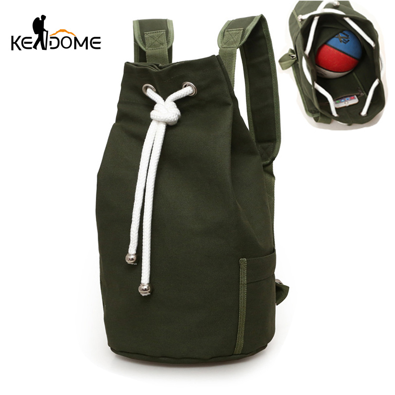 Men Gym Fitness Drawstring Backpack Canvas Bucket Basketball Bag Training School Travel Riding Outdoor Blaso Sac De Sport XA100D