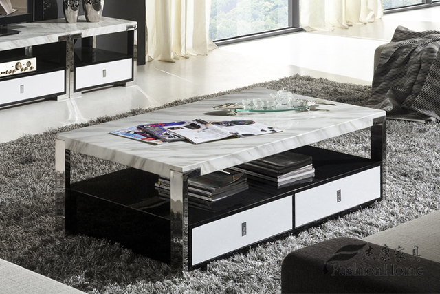 Modern Living Room Coffee Table Fashion Simple Rectangular Marble Tea Table  A Few Stainless Steel Coffee