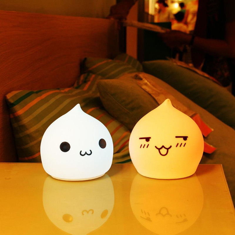 Cute USB Charging Silicone LED Night Light Touch Dimming Colorful Lights Baby Room Lights Christmas