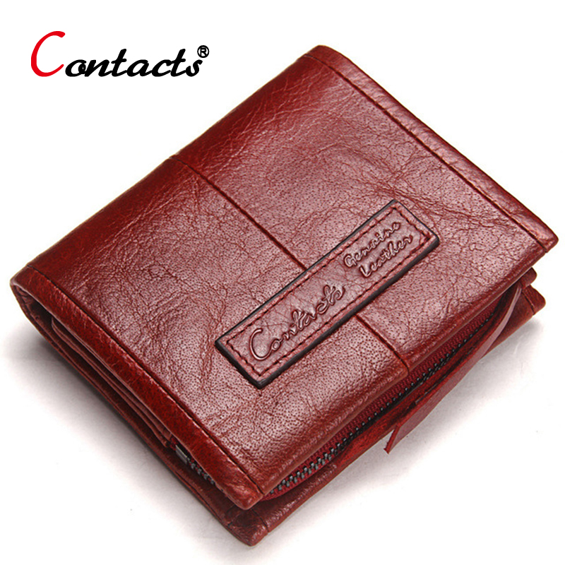 CONTACT'S Genuine Leather Women Wallet Female Purse Men