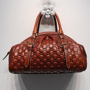 Image 3 - HANSOMFY sac à main en cuir pour femmes, sac à épaule, raviolis exquis gaufrés, sacs faits à la main personnalisé de bonne qualité en daim Fashion