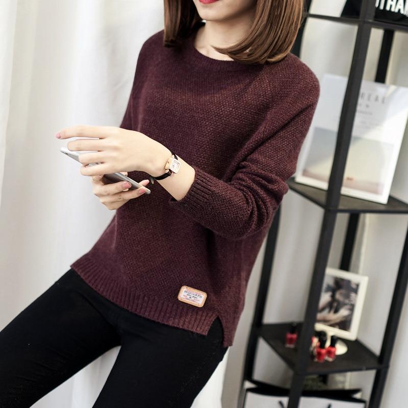 Otoño suéter 2017 invierno mujeres moda sexy cuello redondo Casual mujeres suéteres y pulóver cálido manga larga suéter tejido