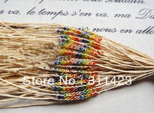 Raffia Bracelet 10pcs handmade with 12pcs rainbow color measle beads fashion bracelet  Raffia Bracelet, anklet