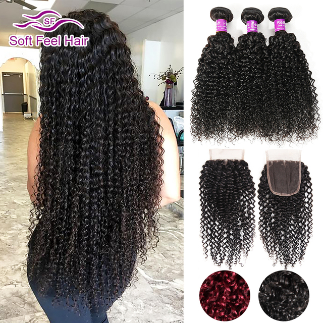 Soft Feel Hair Curly Bundles With Closure Brazilian Kinky Curly Hair Weave 3/4 Bundle Ombre Human Hair Bundles With Closure Remy