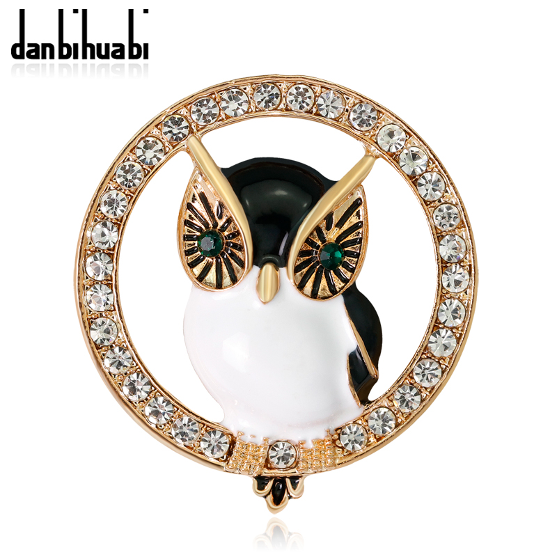Danbihuai Hot Sale Animal Brooch Owl Circles Crystal Women Brooches Gold Color Ladies Lapel Hijab Jewelry Gift