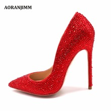 Free shipping real pic AORANJIMM hot sale red crystal Rhinestone pointed toe women lady high heel shoes pump wedding shoes