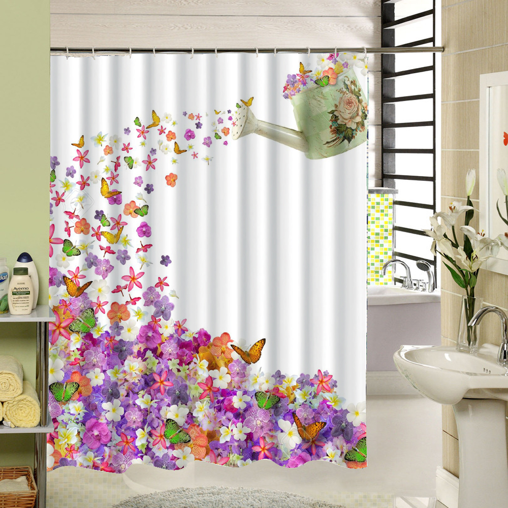 The Creative Art Design That A Teapot Pour Thousands Of Flowers That Attract Many Butterfly 3d Print Fabric Shower Curtain