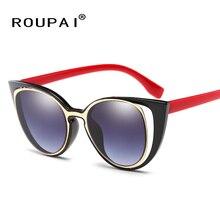 ROUPAI Fashion Cat Eye Sunglasses Women Brand Designer Retro Pierced Female Sun Glasses oculos de sol feminino UV400 8124