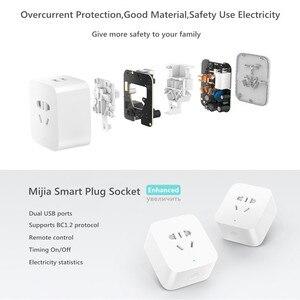 Image 4 - Xiao mi Original mi jia prise intelligente prise améliorée double chargeur rapide USB ZigBee/prise de base USB sans fil WiFi mi contrôle de lapplication à domicile