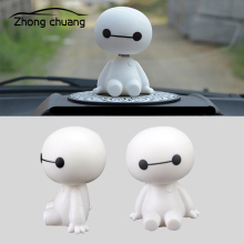 Cartoon plastic Baymax robot shaking head car accessories interior decoration big hero doll toy