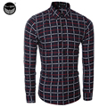 Men Shirt Luxury Brand 2017 Male Long Sleeve Shirts Casual Fashion Plaid Slim Fit Dress Shirts Mens Hawaiian Camisa Masculina QQ