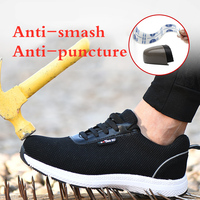 SERENE 2019 Steel Toe Work Shoes Men Safety Anti Smashing Lightweight Breathable Shoes Non Slip Anti static Construction Boots