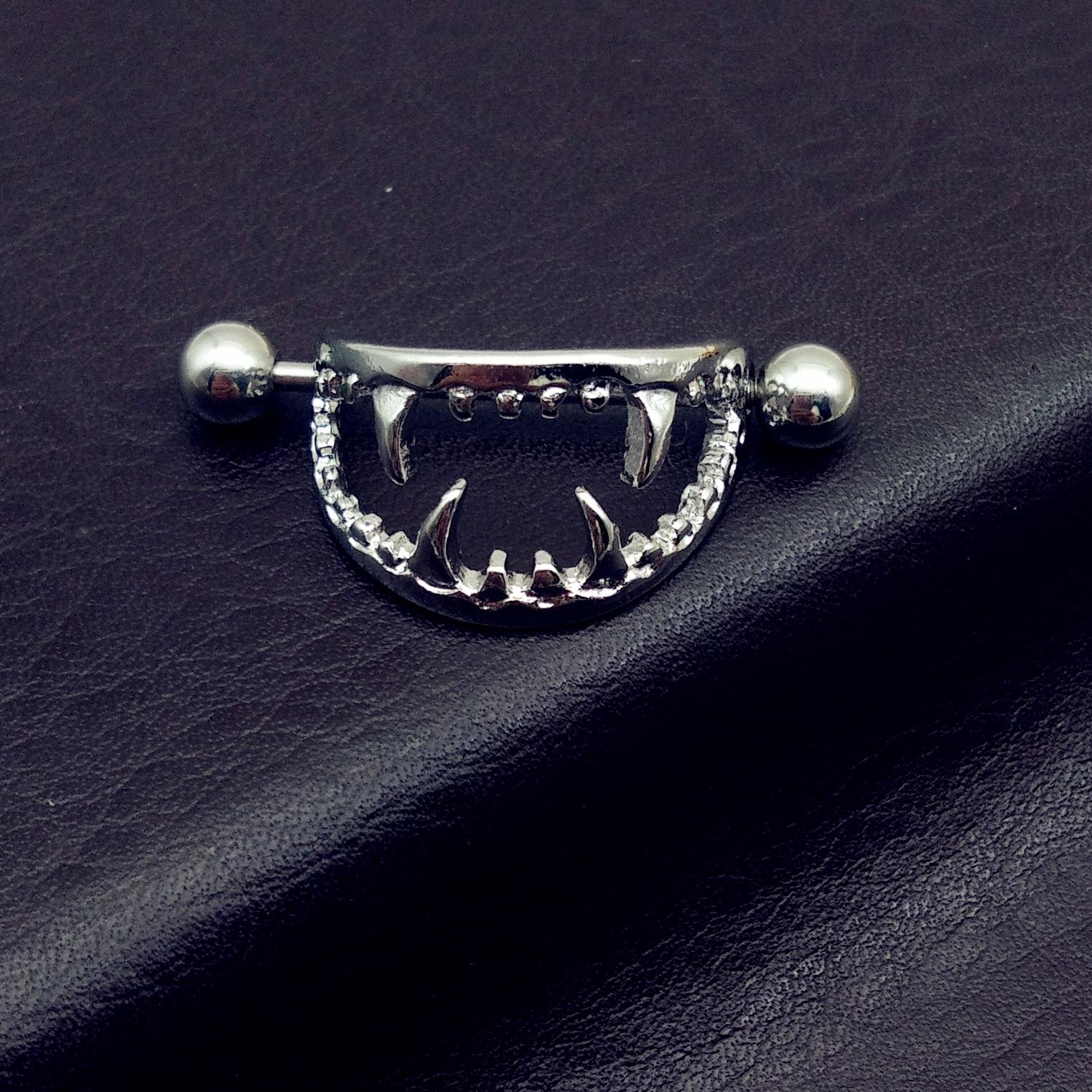 2 piece 14G Punk Rock y Love Bite Fangs Vampire Nipple Ring