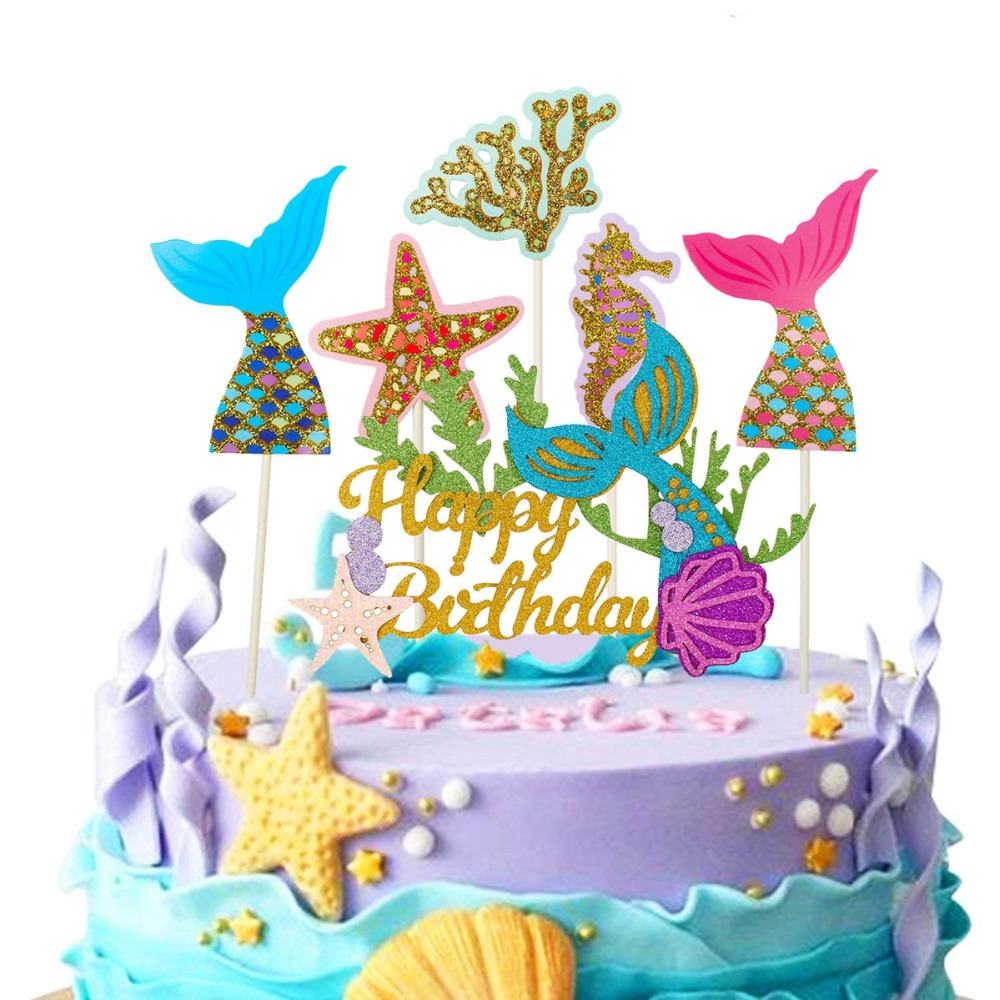Heronsbill Happy Birthday Cake Topper Wedding Love Princess Crown Unicorn Cupcake Kids Adult Mermaid Party Decoration 30th 40 50 In Decorating Supplies