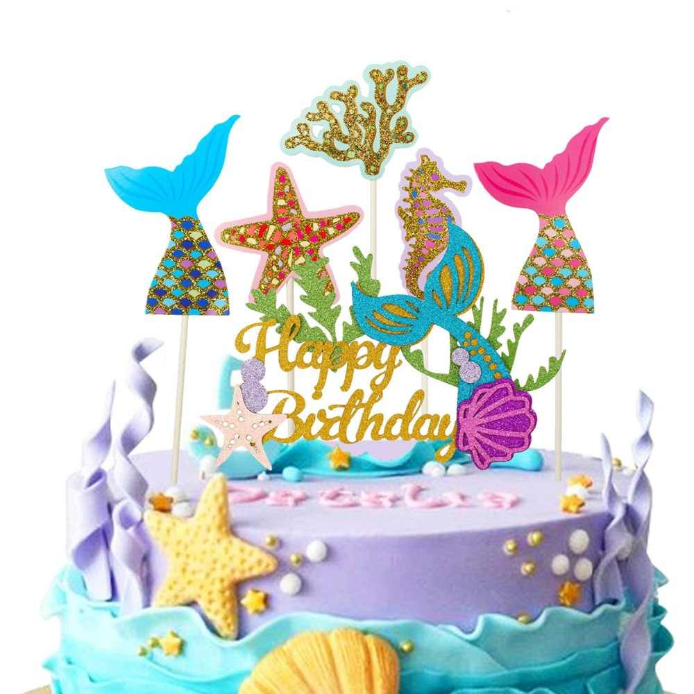 Heronsbill Happy Birthday Cake Topper Wedding Love Princess Crown Unicorn Cupcake Kids Adult Mermaid Party Decoration