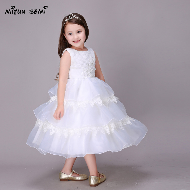 White Christening Formal Girl Wedding Dress Children Ball Gown Kids Clothing Birthday Party Princess Dresses for Girls Clothes
