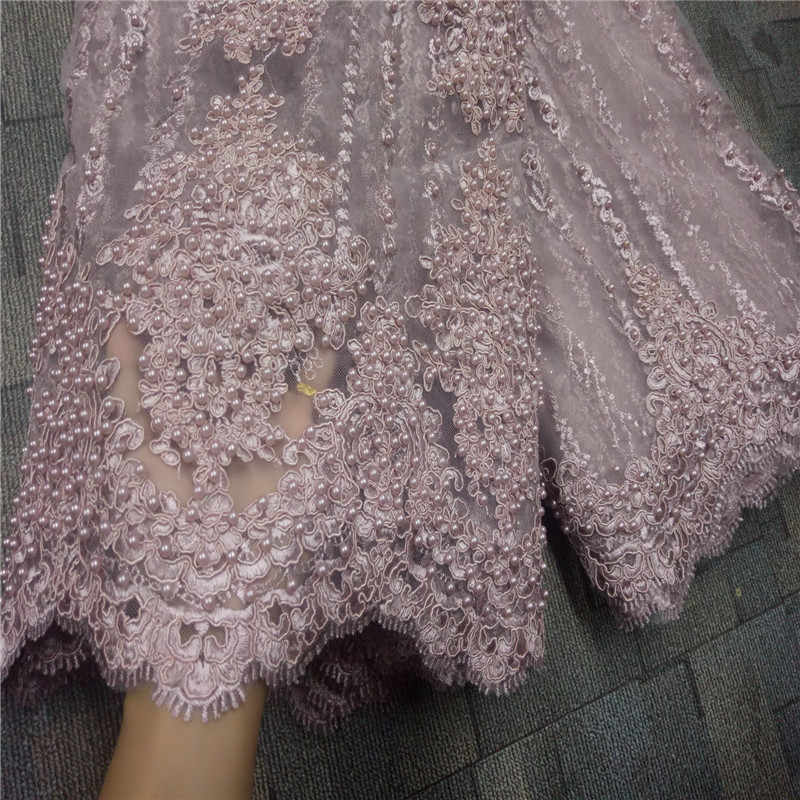 embroidery lace French Net Lace Fabric African Lace Fabric With Heavy Beads Mesh Tulle Lace Fabric High Quality wedding fabric