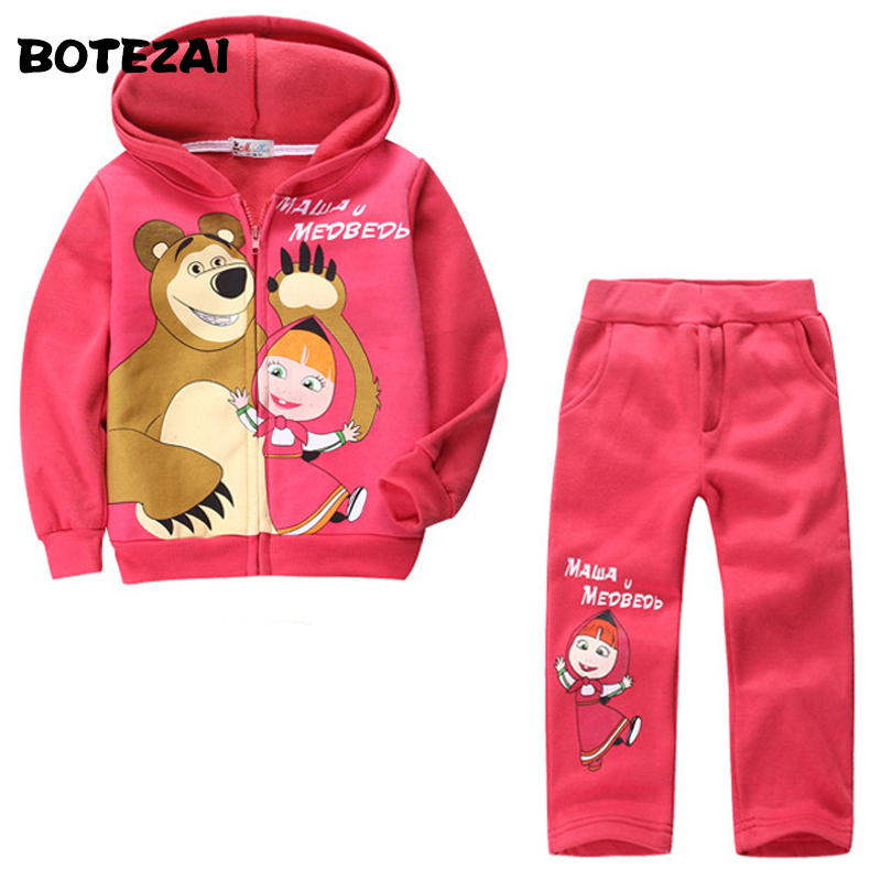 New 2017 Retail children clothing set, Baby Girls Masha Bear Warm Suit, hoody jacket+pants cartoon clothes kids sportswear velvet платье до колена