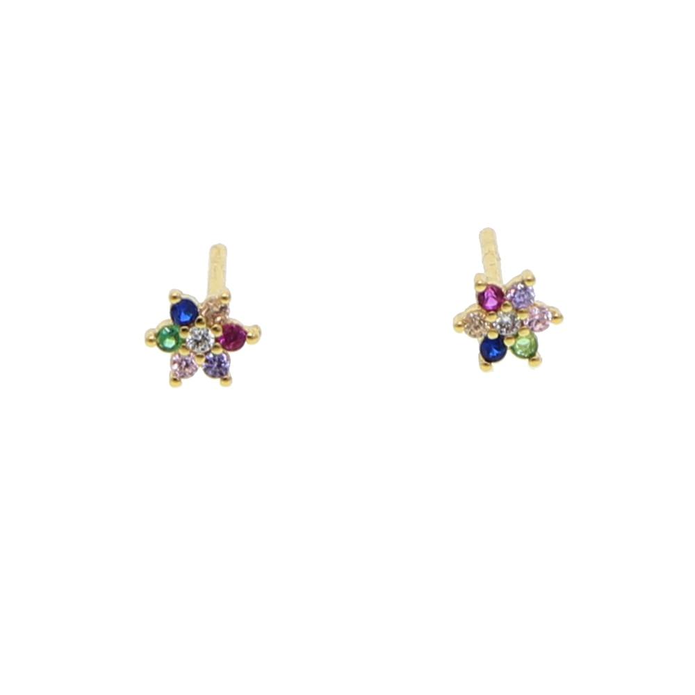 2018 new design fashion minimal jewelry elegant Daisy Flower stud earrings colored CZ stone Statement earring for women