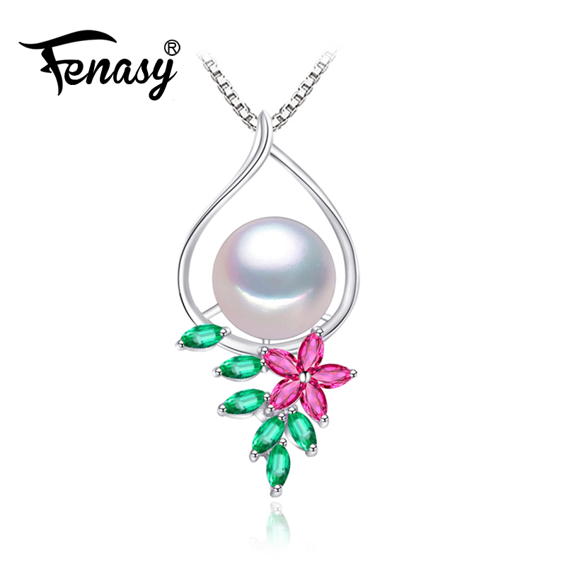 FENASY 925 sterling silver necklace,classic party chain necklace,Pearl necklaces & pendants wedding & engagement jewelry