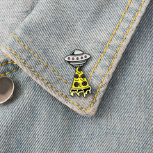 XEDZ Fashion Explosion Hot Sale Yellow Tower Shape Spaceship Badge Brooch Creative Shirt Backpack Jewelry Friends Gift