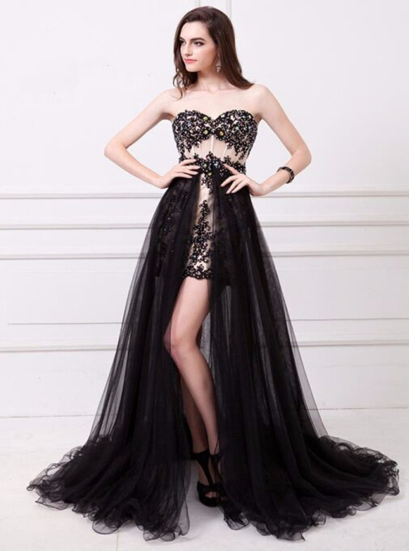Black Tulle Lace   Cocktail     Dress   2019 new beading short mini luxury   cocktail     dresses   with removable train Formal party Prom gowns
