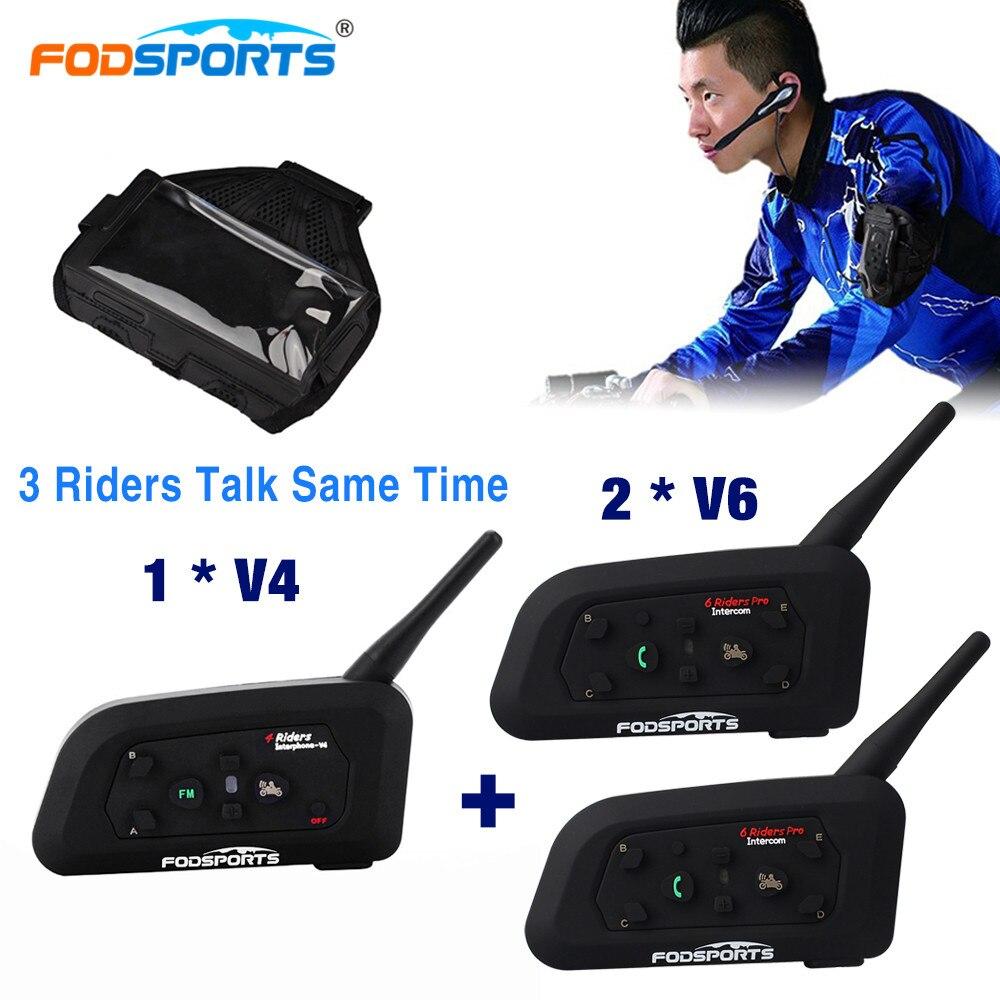 1 pc V4 et 2 pc V6 Pro Interphone pour Football Arbitre Entraîneur Sans Fil Bluetooth Interphone intercomunicador 3 Coureurs Max 1200 m