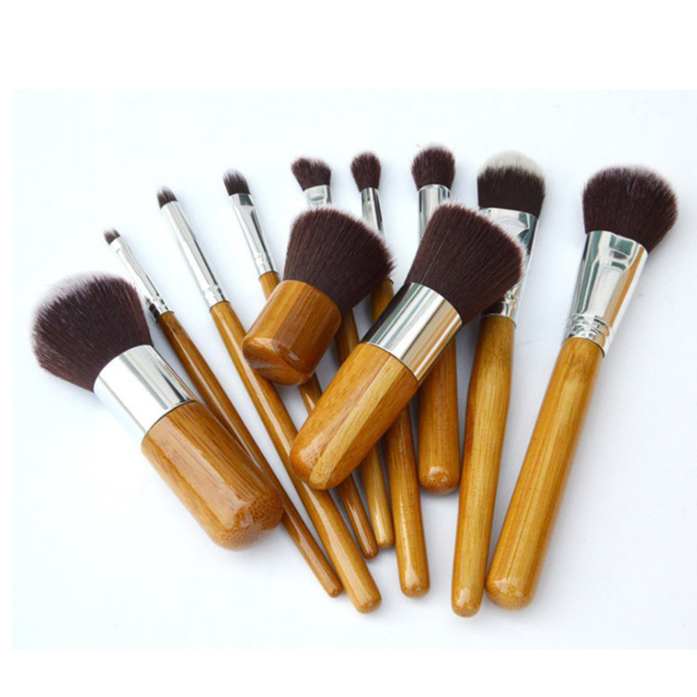 ELECOOL Pro Women 11pcs/set Makeup Brushes Set Natural Bamboo Handle Fiber Hair foundation Beauty Cosmetic Make up Brush Kit msq 15pcs professional makeup brushes set foundation fiber goat hair make up brush kit with pu leather case makeup beauty tool