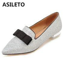 Girseaby 2019 Glitter flats for women ladies knot pointed Toe Boat shoes  casual Flat bridal shoes 3748024ed8b7