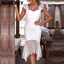 Women Hollow Out Crochet Bodycon Lace Dress Solid Sleeveless Knee-Length V-Neck Elegant Summer Sheath Party Dress