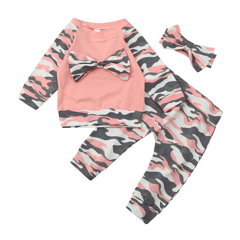 Newborn Toddler Baby Girls Boys Camouflage Bow Tops Pants Outfits Set Clothes Pullover Sweat Fashion Cute with high quality P7