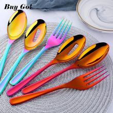 3Pcs/set 18/8 Stainless Steel Gold Flatware Big Size Long Handle Serving Salad Spoon/Fork/Colander Set Kitchen Utensils