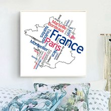 City Map of France Picture Wall Art Canvas Printed Letters Poster Artwork Painting for Office Bedroom Decor Drop Shipping
