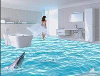 3d floor painting wallpaper Realistic HD Seamless Bathroom 3D Sea World Flooring