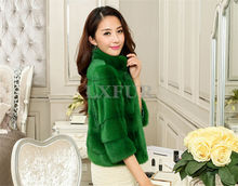 2017 New Vogue Womens Real Full Pelt Mink Fur Stripe Jackets Elegant Natural Mink Fur Solid Coat Three Quarter Sleeve LX00378