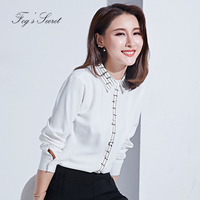 White Shirt For Women Simple Fashion Note For Female Big Size Cardigan Notched Lapel Office Lady